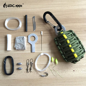 EDC.1991 U.S. Outdoor Carabiner Grenade 550 Paracord Survival Kit Keychain Fishing Tools Kit and Sharp Eye Knife
