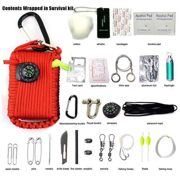 Ourpgone 29 in 1 SOS Survival Outdoor EDC Paracord Survival Kit Emergency EDC Gear for Camping Green Useful Hunting tools