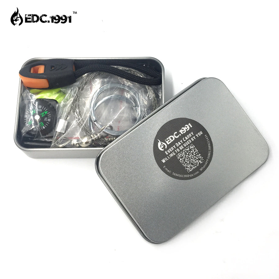EDC.1991 New SOS EDC Emergency Survival Kit Equipment Outdoor Camping Hiking Box Knife Multifunction Tool Fishing Survival Gear