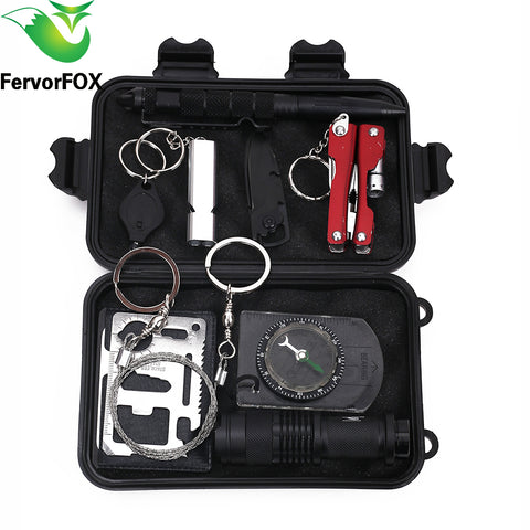 10 in 1Outdoor Emergency Equipment SOS Kit First Aid Box Supplies Field Self-help Box For Camping Travel Survival Gear Tool Kits