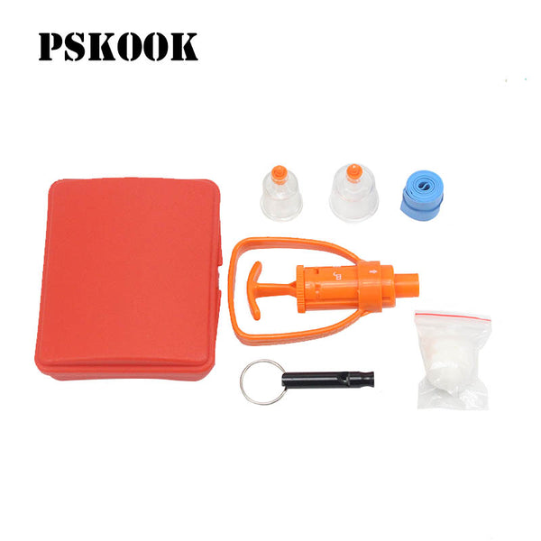 PSKOOK Poison Venom Extractor Outdoor Emergency Kit Survival Whistle Travel Snake Spider Bite Rescue Tool First Aid Medical Pump