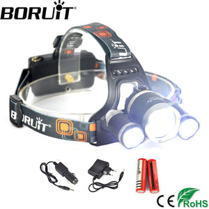 Boruit 3 XML-T6 LED 6000 LM Headlight 4 Modes Rechargeable Headlamp For Camping Head Lamp Torch Lantern 1 Year Warranty Light