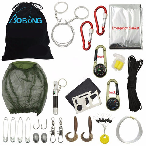 Bobing 18 In 1 Multifunctional Outdoor Fishing Tools Tackle Gear Survival Kit Emergency Kit Wild Travel Essentials Accessories