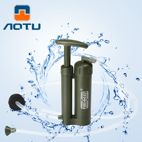 AOTU High Quality Portable Plastic 0.1 Micro Soldier Water Filter Purifier Cleaner Outdoor Hiking Camping Survival Emergency 483