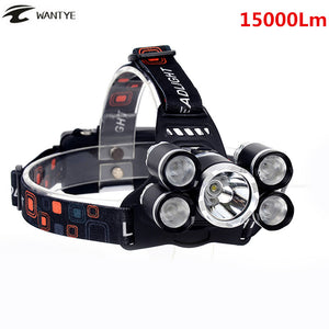 15000Lm LED Head Lamp Light XML T6+4R5 Headlamp Rechargeable 18650 Head Flashlight Torch Camping Fishing Hunting Lantern