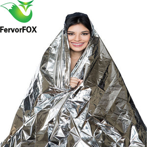 10pcs(210*130CM)  Emergency Blanket Survival Rescue Insulation Curtain Outdoor Life-saving Military Silver