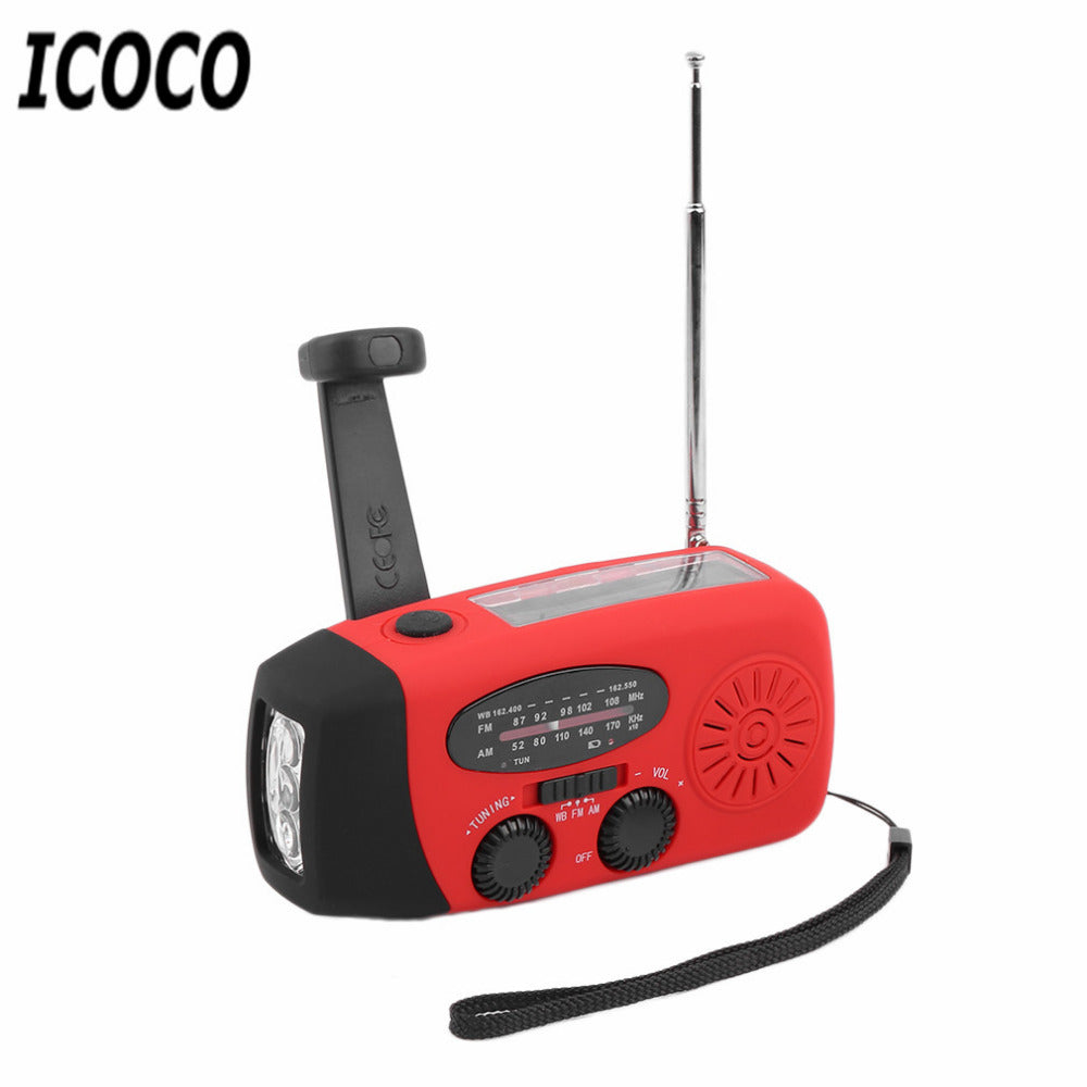 ICOCO 3in1 Portable Waterproof Emergency Charger Solar Hand Crank Self Powered LED Emergency Survival Flashlight AM/FM/WB Radio