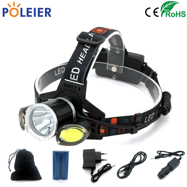 7000 Lumens LED Head Torch Headlamp T6 + COB Headlight USB Frontal Light Torch Waterproof Flashlight Rechargeable 18650 Battery
