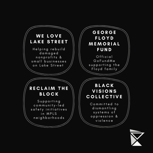 New MNimalist Causes- We Love Lake Street, George Floyd Memorial Fund, Reclaim the Block, Black Visions Collective