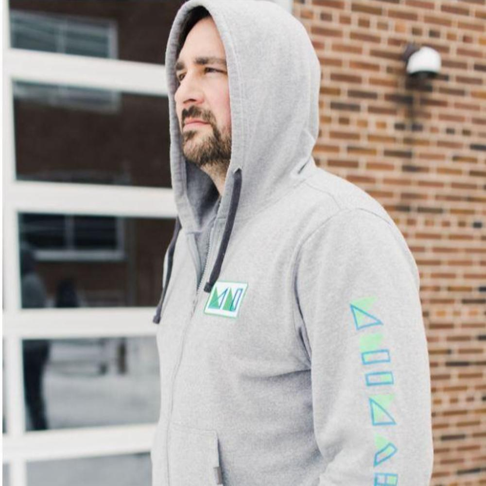 MNIMALIST Light Heather Grey Sustainable Zip Hoodie with Blue & Green MN Logo