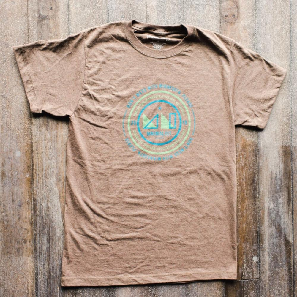 MNIMALIST Brown Sustainable Shirt with Green & Blue Circle DMWMP Logo