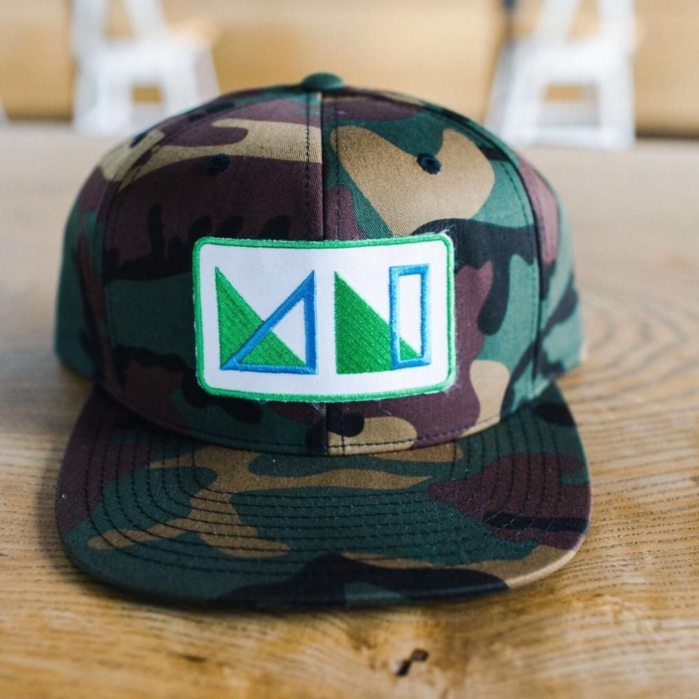 Camo Premium Snapback- MN logo patch in Green & Blue