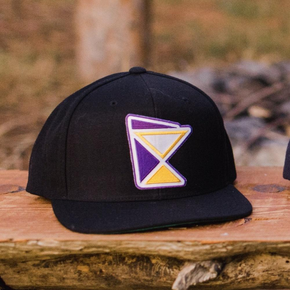Skol cap- Black Premium Snapback with Purple & Gold state patch