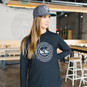 MNIMALIST Charcoal Sustainable Long Sleeve with White DMWMP Logo
