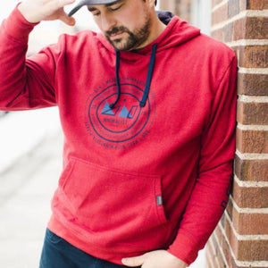 MNIMALIST Red Sustainable Pullover Hoodie with Navy DMWMP Logo