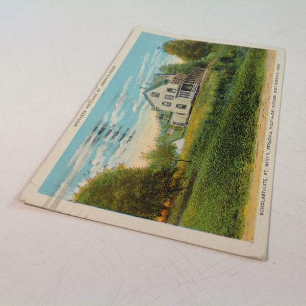Vintage 1938 Hermann Post Card Co Artchrom Color Postcard Scholasticate St Mary's Ferndale Holy Ghost Fathers West Norwalk Connecticut