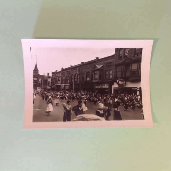 Vintage Mid Century B&W Photo Holland Michigan Tulip Festival Paraders Face Right