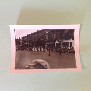 Vintage Mid Century B&W Photo Holland Michigan Tulip Festival Marching Band Led by Baton Twirlers