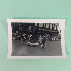 Vintage Mid Century B&W Photo Holland Michigan Tulip Festival Paraders Dutch Women Pull the Float