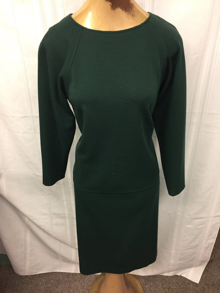 Vintage 1980's Miss D By Oscar de la Renta 2 Pc Deep Green Skirt & Long Sleeve Blouse