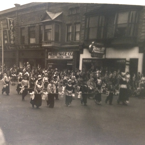 Vintage Mid Century B&W Photo Holland Michigan Tulip Festival Paraders March of the Little Dutch Children Past Rexall Drug