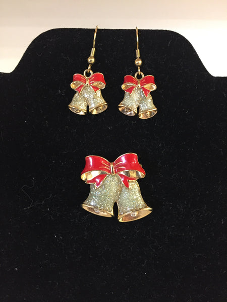 Vintage Goldtone Red Enamel Christmas Bells Brooch & Earring Set Glitter