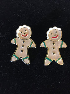 Vintage Designer AIM Goldtone & Enamel Gingerbread Earring Christmas Holiday