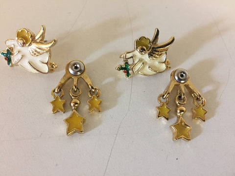 Vintage Goldtone Enamel Angel Pierced Earrings Front & Back Dangle