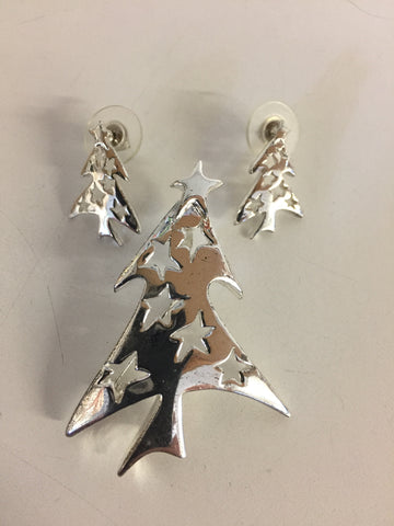 Vintage All Silvertone Christmas Tree Brooch Earring Set Modern MCM