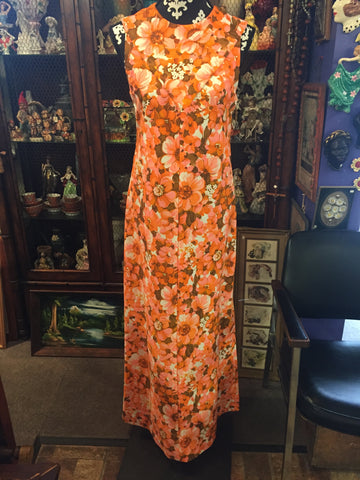 Vintage 1970's Bright Orange Floral Full Length Sleeveless Hawaiian Dress w/ Slits
