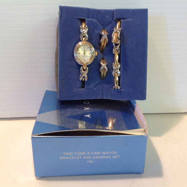 2004 NOS AVON Women's Two-Tone X-Link Watch Bracelet and Clip Earring Set w/Box