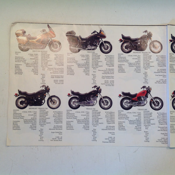 Vintage 1983 Yamaha Fold-Out Sales Brochure Poster