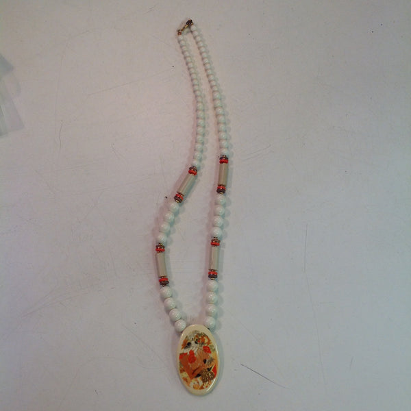 Vintage White Plastic Beaded Necklace with Enamel Autumn Foliage Pendant