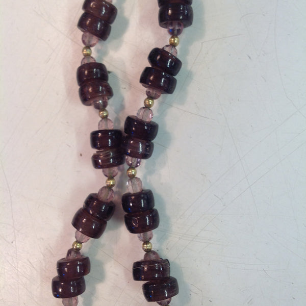 Vintage Translucent Wine Lavender Beaded Necklace with Hammered Goldtone Pendant and Violet Centerpiece
