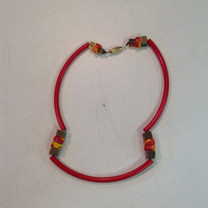 Vintage Red Plastic Tubing with Brass Orange and Yellow Beaded Choker