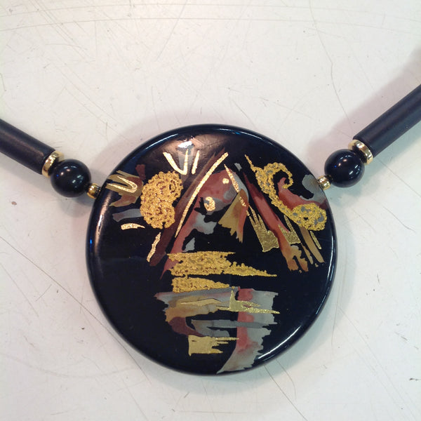 Vintage Black Plastic Pendant Necklace with Asiatic Abstract Gold Fleck Painting
