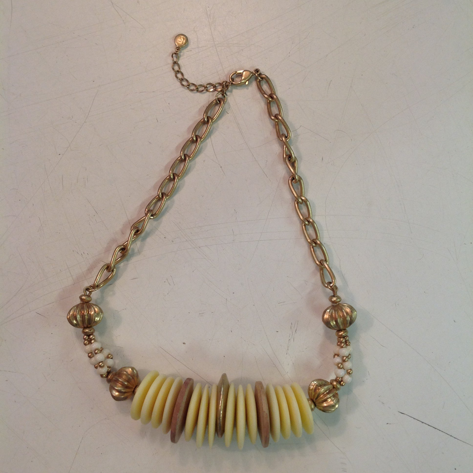 Vintage Liz Claiborne Goldtone Chain Choker with Plastic Wood Metal Disc Roll and White Cluster Beads