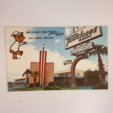 Vintage 1960's Souvenir Colourpicture Plastichrome Las Vegas Strip Travelodge Exterior with Sleepy Bear Postcard Las Vegas Nevada
