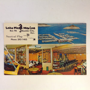Vintage 1960's Souvenir Color Postcard Lake Mead Marina and Nautical Flag Gallery & Grogshop Boulder City Nevada