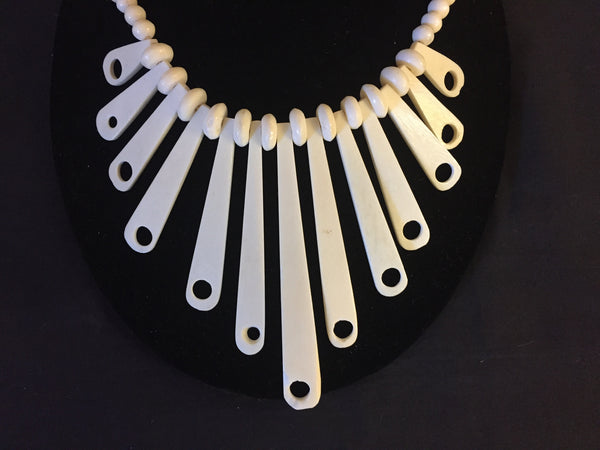 Vintage 1980's Bone Statement Necklace Collar Oddity Fun