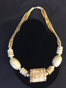 Vintage 1980's Carved Bone Pendant Statement Necklace Oddity WOW