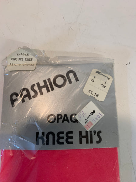 Vintage K-Mart Fashion 100% Nylon Opaque Knee Hi's in Original Packaging Cactus Rose Women's Size 8 1/2 - 11
