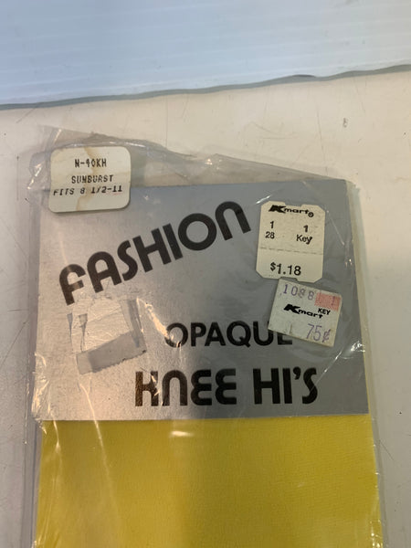 Vintage K-Mart Fashion Opaque Knee Hi's Women's Golden Yellow Size 8 1/2-11 100& Nylon