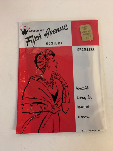 Vintage NOS Woodward's Fifth Avenue Hosiery Seamless 100% Nylon Brown Mist Size Medium Women's Hosiery