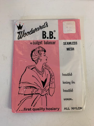 Vintage Woodward's Budget Balancer Seamless Mesh Women's Medium Off White 100% Nylon Hosiery NOS