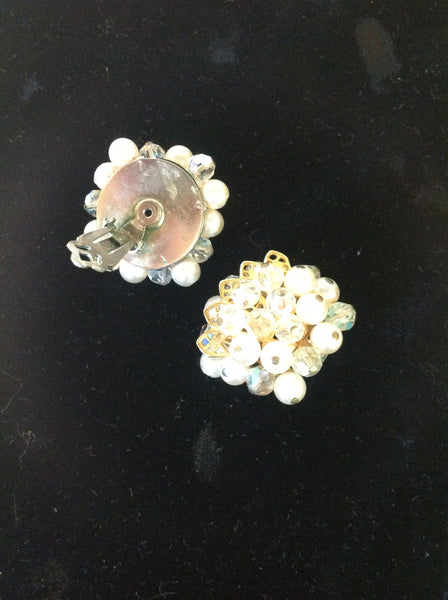 Vintage Goldtone Faux Pearl and Crystal Cluster Clip On Earrings