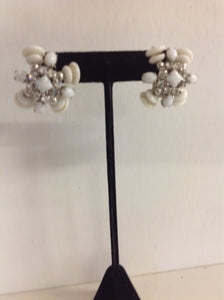 Vintage Silvertone White Plastic Faux Crystal Cluster Clip On Earrings