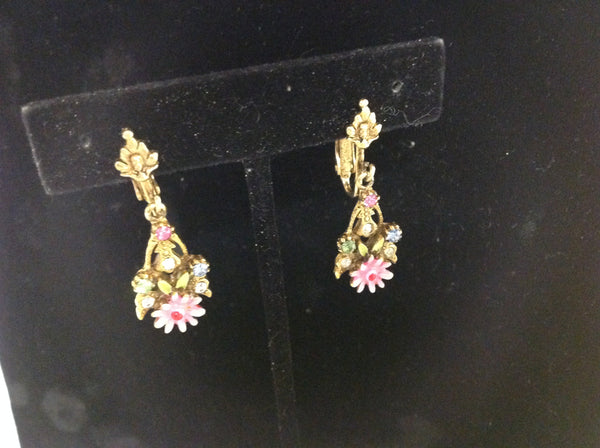 Vintage Goldtone Floral Motif Pink Daisy Blue White Rhinestone Clip On Earrings