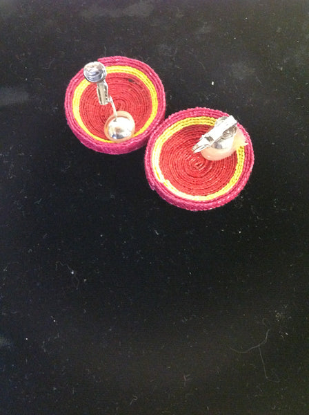 Vintage Pink Yellow Macrame Clip On Earrings