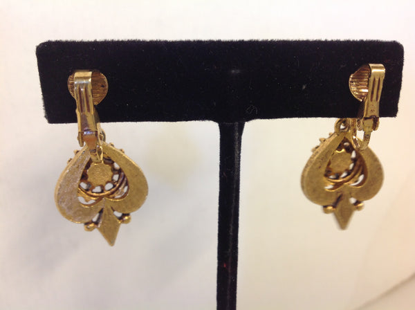 Vintage Goldtone Royal Crest Amber Rhinestone Pendant Clip On Earrings